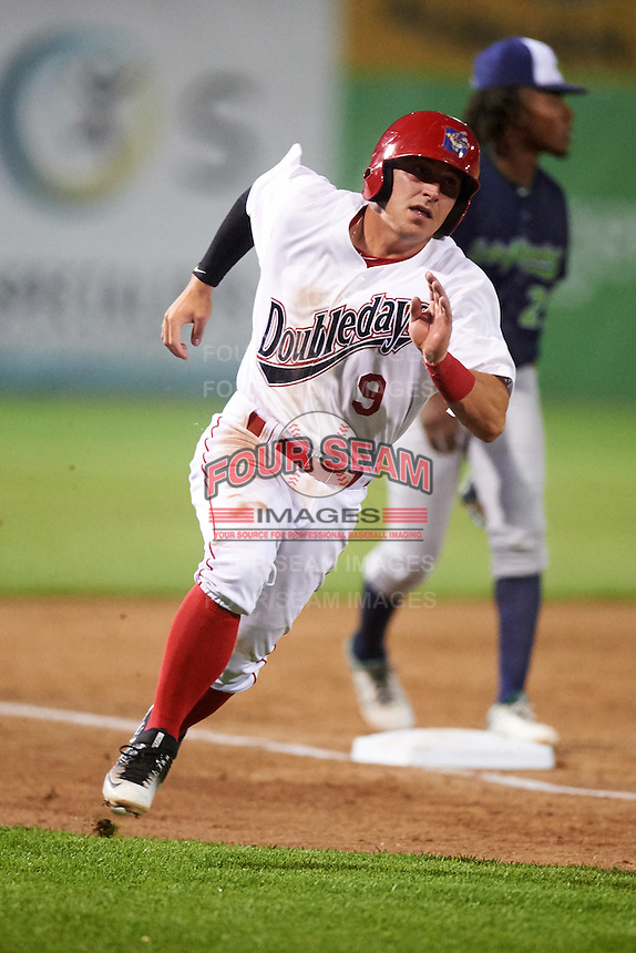 Auburn Doubledays shortstop Paul Panaccione (9) running the bases during a game against the Vermont Lake Monsters on July 12, 2016 at Falcon Park in Auburn, New York.  Auburn defeated Vermont 3-1.  (Mike Janes/Four Seam Images)
