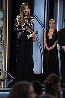 Allison Janney accepts the Golden Globe Award for BEST PERFORMANCE BY AN ACTRESS IN A SUPPORTING ROLE IN A MOTION PICTURE for her role in &quot;I, Tonya&quot; at the 75th Annual Golden Globe Awards at the Beverly Hilton in Beverly Hills, CA on Sunday, January 7, 2018.<br /> *Editorial Use Only*<br /> CAP/PLF/HFPA<br /> &copy;HFPA/PLF/Capital Pictures