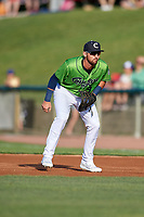 Kane County Cougars first baseman Zachery Almond (9) during a Midwest League game against the Dayton Dragons on July 20, 2019 at Northwestern Medicine Field in Geneva, Illinois.  Dayton defeated Kane County 1-0.  (Mike Janes/Four Seam Images)