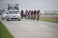 breakaway group through De Moeren<br /> <br /> 3 Days of De Panne 2015
