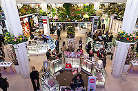 "Macy's flagship department store in Herald Square in New York is festooned with floral arrangements during the annual Macy's Flower Show on opening day Sunday, March 23, 2014. Shoppers flock to this year's show, whose them is ""The Secret Garden"", which is being held indoors for the first time in two years after being held in a tent in front of the store while extensive renovations were going on. The show runs until Sunday, April 6.  (© Richard B. Levine)"