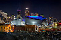 2018 Superbowl 52 Minneapolis skyline at night.