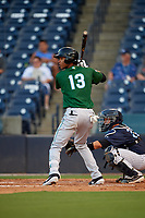 Daytona Tortugas Jose Garcia (13) at bat in front of catcher Donny Sands (33) during a Florida State League game against the Tampa Tarpons on May 17, 2019 at George M. Steinbrenner Field in Tampa, Florida.  Daytona defeated Tampa 8-6.  (Mike Janes/Four Seam Images)