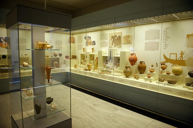 Mycenae Archaeological Museum interior.  Mycenae UNESCO World Heritage  Archaeological Site, Peloponnese, Greece