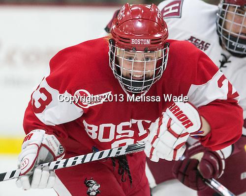 Sarah Bayersdorfer (BU - 23) - The Harvard University Crimson defeated the visiting Boston University Terriers 3-1 on Friday, November 22, 2013, at Bright-Landry Hockey Center in Cambridge, Massachusetts.