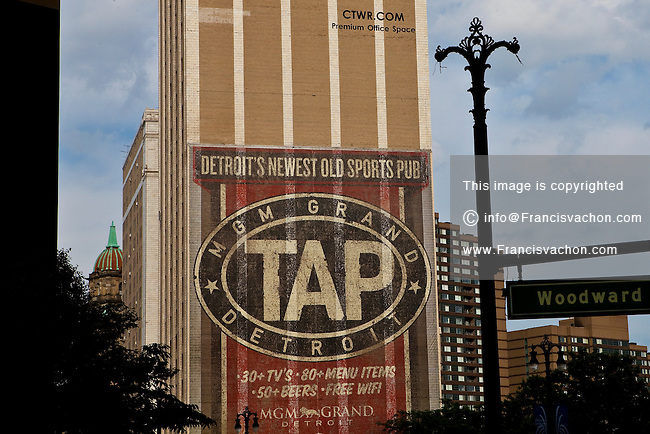An mural advertisement for MGM Grand TAP sports pub  is seen in Detroit (Mi) Saturday June 8, 2013.