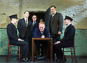 Hangmen by Martin McDonagh, directed by Matthew Dunster. With Ryan Pope as Guard, Reece Shearsmith as Syd, Simon Rouse as Governor,Ben Carmichael as Doctor, Josef Davies as Hennessey,David Morrissey as Harry, Graeme Hawley as Guard. Opens at The Royal Court Jerwood Theatre Downstairs on 18/9/15. CREDIT Geraint Lewis