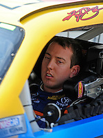 Aug. 7, 2009; Watkins Glen, NY, USA; NASCAR Sprint Cup Series driver Kyle Busch during qualifying for the Heluva Good at the Glen. Mandatory Credit: Mark J. Rebilas-
