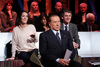 Silvio Berlusconi and in the background his assistant Licia Ronzulli<br /> Roma 12/01/2018. Trasmissione tv Rai 'Kronos'.<br /> Rome January 12th 2018. Silvio Berlusconi appears as a guest on the talk show 'Kronos' in Rome<br /> Foto Samantha Zucchi Insidefoto