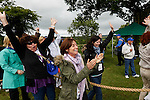 The Caulfield's react after a round of Tug of War at the Caulfield/Mulryan family reunion at Ardenode Stud, County Kildare, Ireland on Sunday, June 23rd 2013. (Photo by Brian Garfinkel)