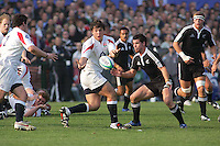 England move the ball wide during the Division A U19 World Championship match at Ravenhill, Belfast.