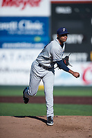 Tri-City Dust Devils starting pitcher Manny Guzman (49) follows through on his delivery during a Northwest League game against the Everett AquaSox at Everett Memorial Stadium on September 3, 2018 in Everett, Washington. The Everett AquaSox defeated the Tri-City Dust Devils by a score of 8-3. (Zachary Lucy/Four Seam Images)