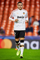 5th November 2019; Mestalla, Valencia, Spain; UEFA Champions League Football,Valencia versus Lille; Maxi Gomez of Valencia CF warms up prior to the game - Editorial Use