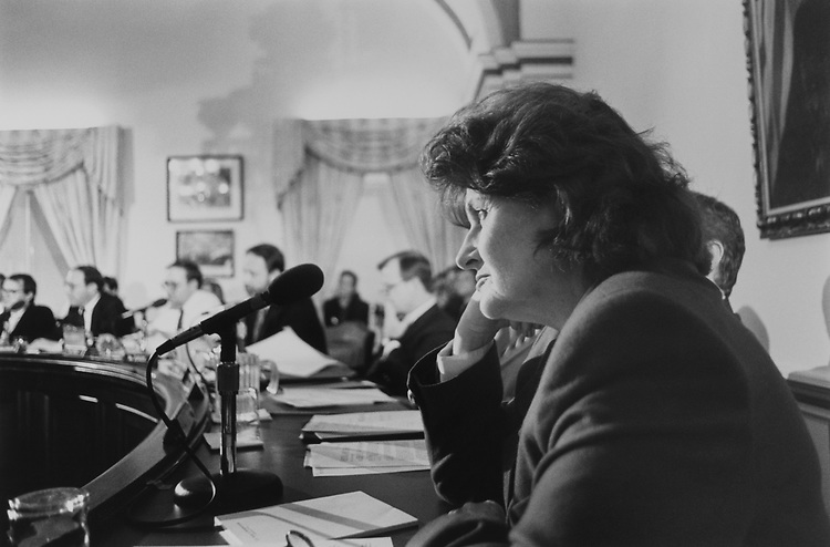 Rep. Louise Slaughter, D-N.Y., at the Rules Committee Hearing on Jan. 10, 1991. (Photo by Laura Patterson/CQ Roll Call via Getty Images)