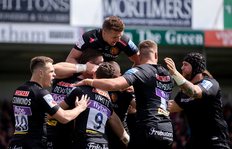 Exeter Chiefs' Ollie Devoto celebrates scoring his sides first try<br /> <br /> cPhotographer Bob Bradford/CameraSport<br /> <br /> Gallagher Premiership - Exeter Chiefs v Harlequins - Saturday 27th April 2019 - Sandy Park - Exeter<br /> <br /> World Copyright © 2019 CameraSport. All rights reserved. 43 Linden Ave. Countesthorpe. Leicester. England. LE8 5PG - Tel: +44 (0) 116 277 4147 - admin@camerasport.com - www.camerasport.com