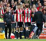 Ched Evans of Sheffield Utd replaces Billy Sharp of Sheffield Utd during the Championship League match at Bramall Lane Stadium, Sheffield. Picture date 19th August 2017. Picture credit should read: Simon Bellis/Sportimage