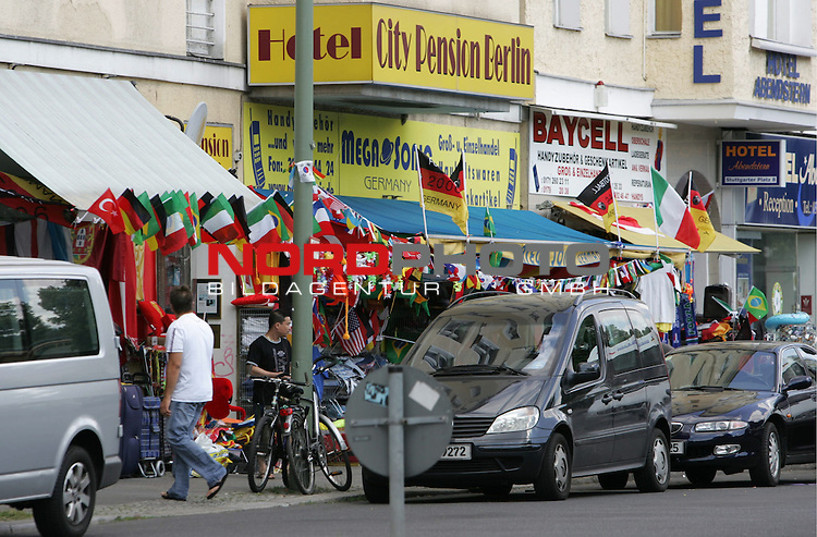 FIFA WM 2006 Germany - Feature<br /> A souvenir-shop with flags in Charlottenburg in Berlin during the world cup in Berlin.<br /> Foto &copy; nordphoto