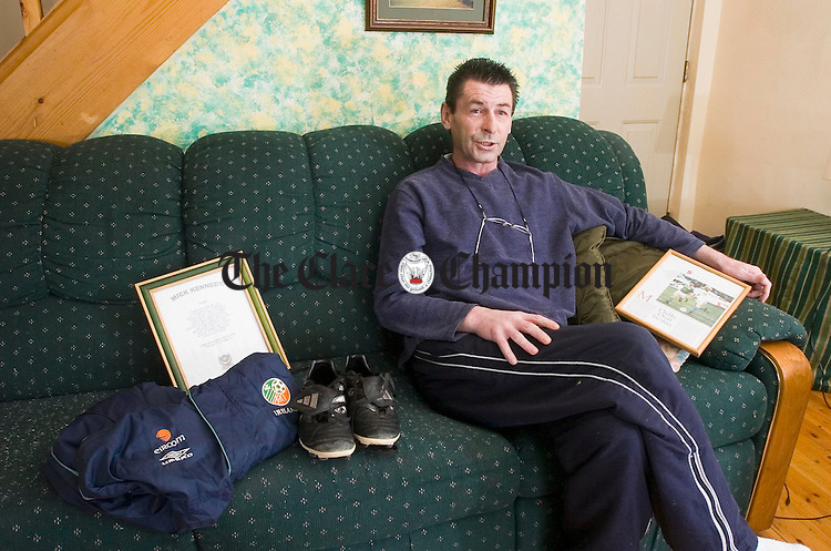 Former Irish soccer player Mick Kennedy pictured at home in Kilmaley. Photograph by John Kelly.