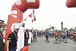 The leaders jerseys lined up for the start of Stage 5 of the 2019 UAE Tour, running 181km form Sharjah to Khor Fakkan, Dubai, United Arab Emirates. 28th February 2019.<br /> Picture: LaPresse/Fabio Ferrari | Cyclefile<br /> <br /> <br /> All photos usage must carry mandatory copyright credit (© Cyclefile | LaPresse/Fabio Ferrari)
