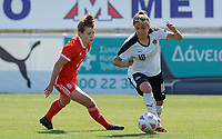 20180307 - LARNACA , CYPRUS : Austrian Laura Feiersinger (r) pictured in a duel with Welsh Angharad James (left) during a women's soccer game between Austria and Wales , on wednesday 7 March 2018 at the AEK Arena in Larnaca , Cyprus . This is the final game for the 7th and 8th  place  for Austria and Wales on the Cyprus Womens Cup , a prestigious women soccer tournament as a preparation on the World Cup 2019 qualification duels. PHOTO SPORTPIX.BE | DAVID CATRY