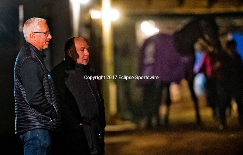 LOUISVILLE, KENTUCKY - MAY 02: Todd Pletcher (left) waits for Always Dreaming to work out during Kentucky Derby and Oaks preparations at Churchill Downs on May 2, 2017 in Louisville, Kentucky. (Photo by Scott Serio/Eclipse Sportswire/Getty Images)