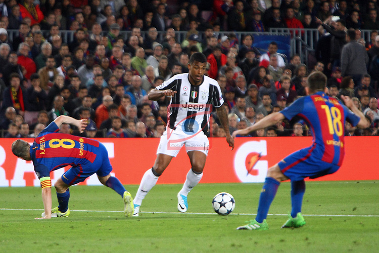 UEFA Champions League 2016/2017.<br /> Quarter-finals 2nd leg.<br /> FC Barcelona vs Juventus Football Club: 0-0.<br /> Andres Iniesta, Mario Lemina &amp; Jordi Alba.