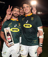 PRETORIA, SOUTH AFRICA - OCTOBER 06:  (L) to (R) Willie le Roux with Eben Etzebeth and Franco Mostert of South Africa during the Rugby Championship match between South Africa Springboks and New Zealand All Blacks at Loftus Versfeld Stadium. on October 6, 2018 in Pretoria, South Africa. Photo: Steve Haag / stevehaagsports.com