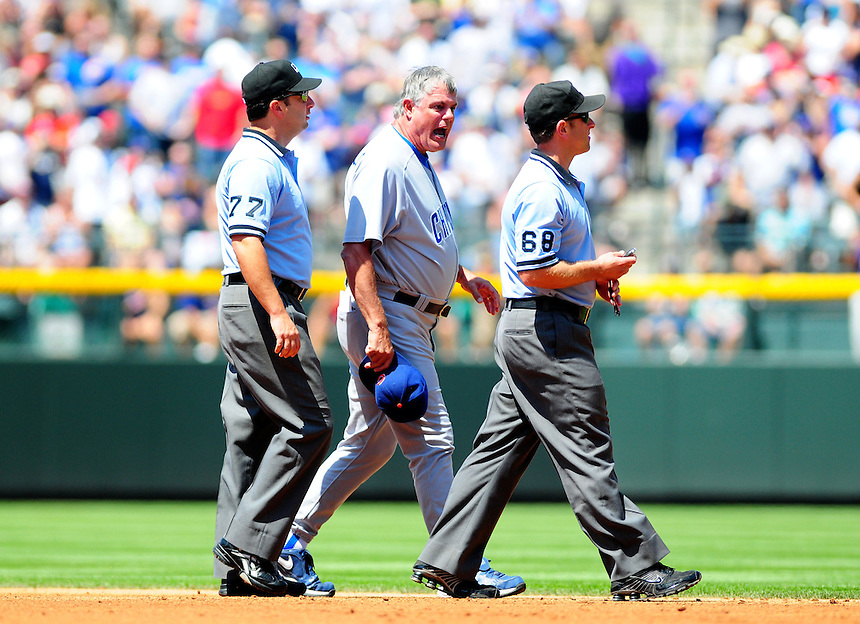 August 9, 2009: Cubs manager Lou Piniella argues with umpires Jim Reynolds (77) and Chris Guccione (68) during a regular season game between the Chicago Cubs and the Colorado Rockies at Coors Field in Denver, Colorado. Piniella was ejected by Guccione. The Rockies beat the Cubs 11-5. *****For editorial use only*****