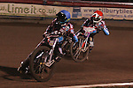 Lakeside Hammers v Swindon Robins<br /> Elite League<br /> Friday 5th April 2013<br /> Arena-Essex<br /> Heat Two<br /> Richard Lawson (Red), Rob Mear (Blue), Steve Worrall (White), Kasper Gomolski (Yellow)
