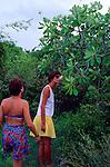 Two women tourists explore, Cayman Brac, Cayman Islands, British West Indies,