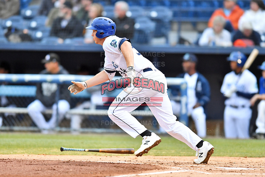Asheville Tourists first baseman Grant Lavigne (34) runs to first base during a game against the Augusta GreenJackets at McCormick Field on April 5, 2019 in Asheville, North Carolina. The  Tourists defeated the GreenJackets 5-0. (Tony Farlow/Four Seam Images)