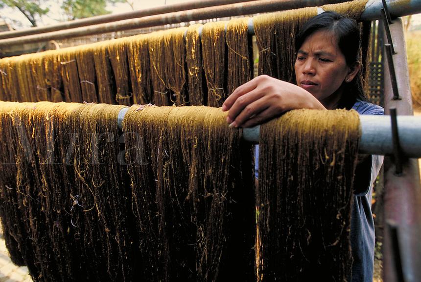 A woman hangs raw silk on a bar. Chiang Mai, Thailand Fabric manufacturing, industry. Chiang Mai, Thailand.