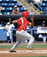 Batavia Muckdogs outfielder Carlos Lopez (36) during game against the Staten Island Yankees at Richmond County Bank Ballpark at St.George on July 18, 2013 in Staten Island, NY.  Batavia defeated Staten Island 8-2.  (Tomasso DeRosa/Four Seam Images)
