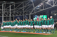 9th November 2013; Ireland players stand for the National Anthem. Autumn International Series, Ireland v Samoa, Aviva Stadium, Dublin. Picture credit: Tommy Grealy/actionshots.ie.