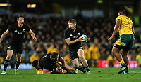 Jack Goodhue in action during the Bledisloe Cup and Rugby Championship rugby match between the New Zealand All Blacks and Australia Wallabies at Eden Park in Auckland, New Zealand on Saturday, 25 August 2018. Photo: Simon Watts / lintottphoto.co.nz