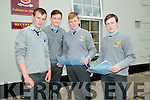 Cathal O'Connor and Aaron Nolan (Castleisland),Callum McCarthy (Cordal and Thomas McNally (Cragg) Leaving Cert  students of St Patrick's College Castleisland who completed their first paper English on Wednesday morning.