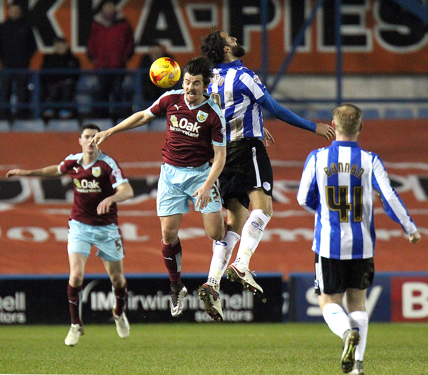 Burnley's Joey Barton vies for possession with Sheffield Wednesday's Atdhe Nuhiu<br /> <br /> Photographer Rich Linley/CameraSport<br /> <br /> Football - The Football League Sky Bet Championship - Sheffield Wednesday v Burnley - Tuesday 2nd February 2016 - Hillsborough - Sheffield<br /> <br /> &copy; CameraSport - 43 Linden Ave. Countesthorpe. Leicester. England. LE8 5PG - Tel: +44 (0) 116 277 4147 - admin@camerasport.com - www.camerasport.com