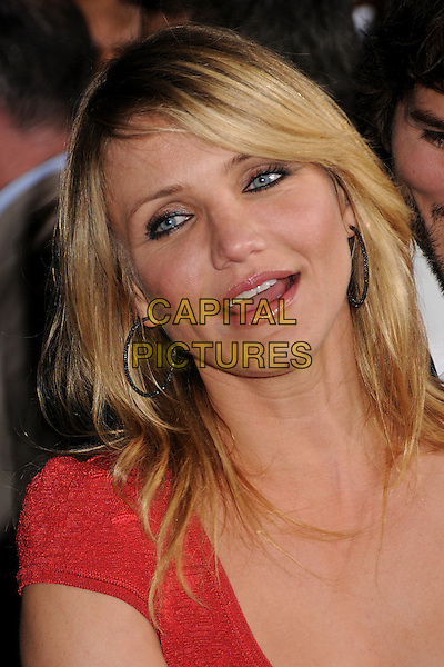 "CAMERON DIAZ .""What Happens in Vegas"" Los Angeles Premiere at Mann's Village Theatre, Westwood, California, USA..May 1st, 2008.headshot portrait hoop earrings mouth open .CAP/ADM/BP.©Byron Purvis/AdMedia/Capital Pictures."