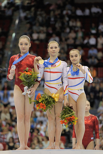 2.5.10 European Gymnastics Championships . Senior Individual Finals. The beam winners. Elena Racea of Romania gold medal Mustafina took silver with a beautiful triple spin and the second Romanian Raluca Haidu who had some very ambitious combinations collected bronze