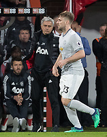 Luke Shaw of Man Utd & Man Utd Manager Jose Mourinho during the Premier League match between Bournemouth and Manchester United at the Goldsands Stadium, Bournemouth, England on 18 April 2018. Photo by Andy Rowland.