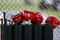 April 14, 2009:  Batting helmets of the St. Louis Cardinals extended spring training team during a game at Roger Dean Stadium Training Complex in Jupiter, FL.  Photo by:  Mike Janes/Four Seam Images