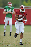 NWA Democrat-Gazette/ANDY SHUPE<br /> Arkansas running back Devwah Waley (right) carries the ball Tuesday, Aug. 1, 2017, past quarterback Carson Proctor during practice at the university's practice field in Fayetteville. Visit nwadg.com/photos to see more photographs from the day's practice.
