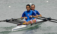 Munich, GERMANY, 2006, FISA, Rowing, World Cup, CHI LM2X bow Miguel Cerda Silve and Felipe Leal Atero.  . held on the Olympic Regatta Course, Munich, Thurs. 25.05.2006. © Peter Spurrier/Intersport-images.com,  / Mobile +44 [0] 7973 819 551 / email images@intersport-images.com..[Mandatory Credit, Peter Spurier/ Intersport Images] Rowing Course, Olympic Regatta Rowing Course, Munich, GERMANY
