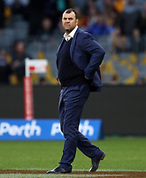 Michael Cheika, Head Coach of Australia during the Rugby Championship match between Australia and New Zealand at Optus Stadium in Perth, Australia on August 10, 2019 . Photo: Gary Day / Frozen In Motion