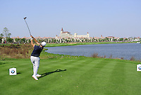 Alexander Levy (FRA) tees off the 9th tee during Sunday's Final Round of the 2014 BMW Masters held at Lake Malaren, Shanghai, China. 2nd November 2014.<br /> Picture: Eoin Clarke www.golffile.ie
