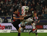 Makoto Hasebe (Eintracht Frankfurt) klaert gegen Jhon Cordoba (1. FC Koeln) - 18.12.2019: Eintracht Frankfurt vs. 1. FC Koeln, Commerzbank Arena, 16. Spieltag<br /> DISCLAIMER: DFL regulations prohibit any use of photographs as image sequences and/or quasi-video.