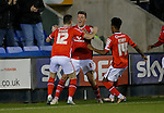Paul Downing (centre) of Walsall celebrates scoring his side's second goal of the game - Football - Sky Bet Division 1 - Shrewsbury Town vs Walsall - Greenhous Meadow Shrewsbury - December 1st  2015 - Season 2015/2016 - Photo Malcolm Couzens/Sportimage