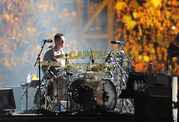 Larry Mullen of U2.U2 perform during the U2 360 Tour at The Anaheim Stadium in Anaheim, California, USA, June 17th 2011..music band live in concert on stage    .half length drums drummer                                                      .CAP/RKE/DVS.©DVS/RockinExposures/Capital Pictures.