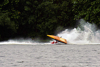 Frame 5: Marissa Affholder(151-M) races into turn 2 chasing 17-M and flips over. (stock outboard runabout)