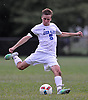 Andrew Lule #5 of Glenn kicks a ball downdfield during the second half of Suffolk County League VI varsity boys soccer game against Southampton at Glenn High School on Friday, Sept. 9, 2016. He scored three goals to lead Glenn to a 6-3 win.